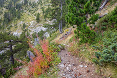 Trekking path in mountains in Greece Royalty Free Stock Image