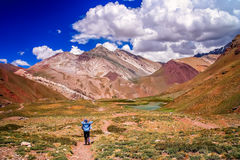 On the trekking path to Aconcagua Stock Photography