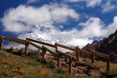 Trekking path to Aconcague Stock Photo