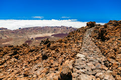 Trekking path in the top of volcanic mount Teide Stock Photography