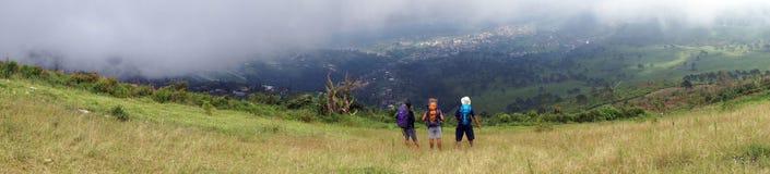 Trekking. People prepare to  Trekking on a mountain slope in Karanganyar, Central Java, Indonesia Royalty Free Stock Photography