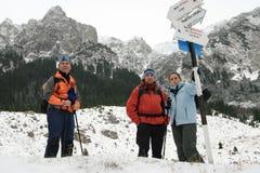 Trekking people resting stock image