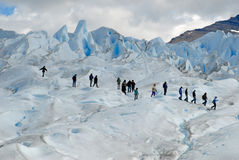 Trekking on Perito Moreno glacier, Argentina. Stock Photo