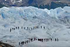Trekking on the Perito Moreno glacier, Argentina. stock images