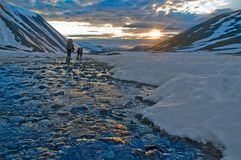 Trekking in  Polar Ural mountains Royalty Free Stock Image