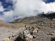 Trekking Pole i högt Himalayan landskap i monsun Arkivbild