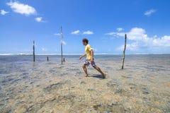 Trekking przez rafy koralowa w Brazylia Obrazy Royalty Free