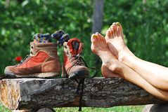 Trekking rest. Taking a rest while trekking with the shoes off Stock Image