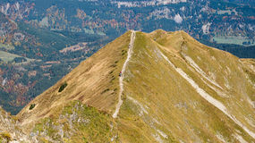 Trekking on a ridge in the Allgaeu Royalty Free Stock Photo