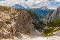 Trekking rond de Drie Pieken, Italiaanse Alpen Royalty-vrije Stock Foto's