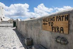 Trekking in Santorini lizenzfreies stockfoto
