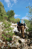 Trekking in sardinia. Young boys practicing trekking in the mountains of sardinia Stock Images