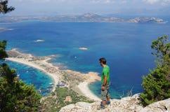 Trekking in Sardinia: to the summit of Tavolara Island. Royalty Free Stock Photos