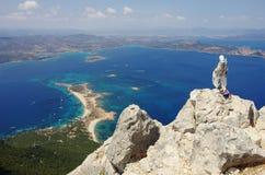 Trekking in Sardinia: to the summit of Tavolara Island. Royalty Free Stock Photo