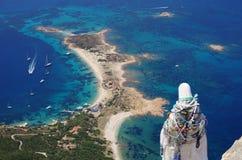 Trekking in Sardinia: to the summit of Tavolara Island. Stock Photo