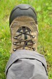 Trekking shoe. S and a white background royalty free stock photos