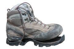 Trekking shoe broken after intensive use (isolated) Stock Image