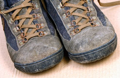 Trekking shoes. Close up image on classic used trekking shoes stock image