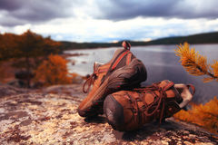 Trekking shoes dry in mountains Royalty Free Stock Photography