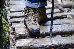 trekking shoes - hiking boots Stock Photo