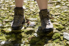 trekking shoes - hiking boots Stock Photos