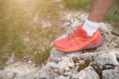 Trekking shoes on a mountain track Stock Photography