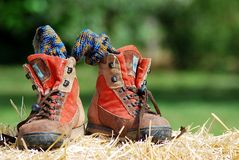 Trekking shoes. With socks on straw royalty free stock image