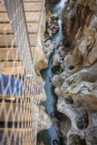 Trekking shoes on suspension bridge at Caminito del Rey Stock Photography