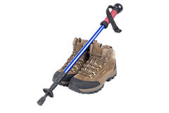 Trekking shose and hiking pole Royalty Free Stock Images