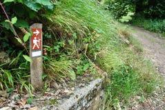 Trekking signaling. Signaling a hiking trail along a country road Royalty Free Stock Photography