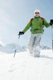 Trekking in snow Royalty Free Stock Photo