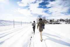 Trekking in a snow Royalty Free Stock Photo