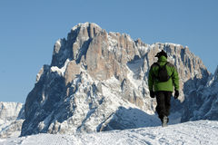 Trekking, snow climber. A man trekking in the snow Royalty Free Stock Image