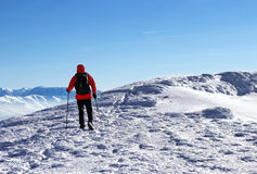 Trekking through snow Stock Photography