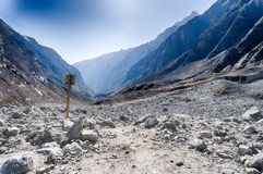 Nepal Himalaya mountain adventure. Trekking in snow mountains of Nepal for health and fitness Royalty Free Stock Images
