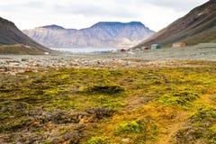 Trekking sobre Longyearbyen na região ártica foto de stock royalty free