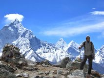 Trekking to Everest base camp royalty free stock images