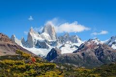 Trekking to Fitz Roy Moutain, Patagonia, El Chalten - Argentina stock photography