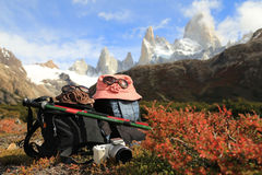 Trekking to Mt Fitz Roy in El Chalten, Argentina Royalty Free Stock Image