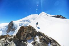 Trekking to the top of Mont Blanc mountain in French Alps stock image