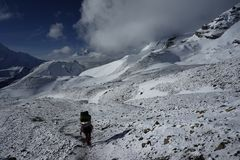 The snow mountains fields in Annapurna Circuit Royalty Free Stock Image