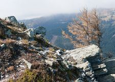 Trekking trail in the eastern Alps. Rocky place at a trekking trail stock photo