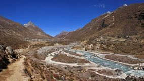 Trekking trail following the Bhote Kosi, river in the Everest Na. Scene in the Thame valley. Trekking trail following the Bhote Kosi, river in the Everest Royalty Free Stock Photography