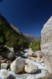 Trekking trail between Gangotri and Gaumukh, Indian Himalayas royalty free stock images