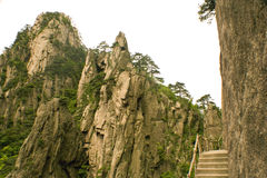 Trekking trail in huangshan, china Stock Photos