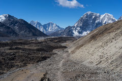 Trekking trail to Lobuche village from EBC, Everest region, Nepa Royalty Free Stock Images