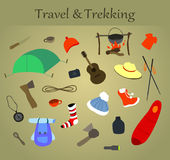 Trekking and travel icons Royalty Free Stock Photo