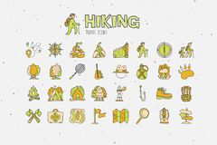 Trekking travelling icon collection, hiking hand draw cartoon icons. Camping and travel caravaning doodle illustration. Tent, compass, tracking, forest and Royalty Free Stock Photography