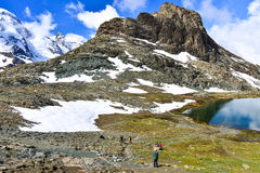 Trekking trial near Riffelsee. This is a photo of trekking trial near Riffelsee in Switzerland Stock Photo