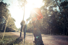 Trekking. Two woman trekking along the forest pathway with trekking pole in morning sunlight Royalty Free Stock Images